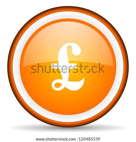 pound orange glossy circle icon on white background