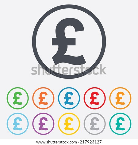 Pound sign icon. GBP currency symbol. Money label. Round circle buttons with frame.
