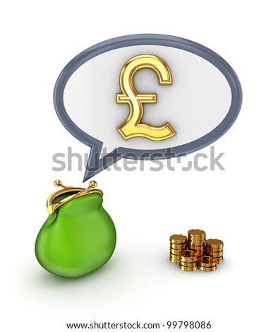 Pound sterling sign and green purse.Isolated on white.3d rendered.