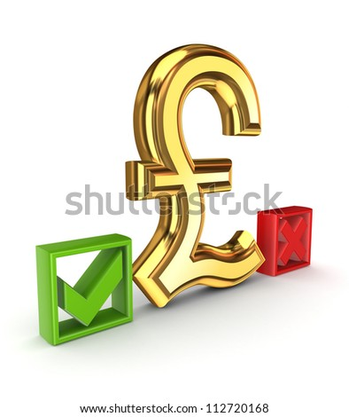 Pound sterling sign between tick and cross marks.Isolated on white background.3d rendered.