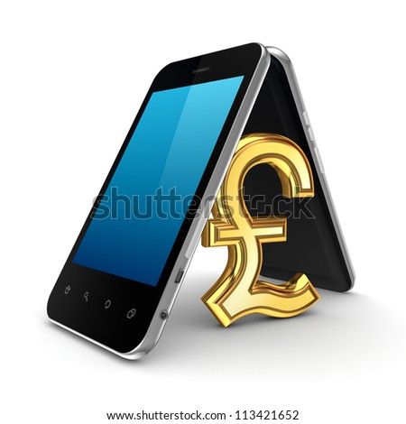 Pound sterling sign icon under the roof made of mobile phones.Isolated on white background.3d rendered.