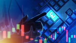 Pound sterling sign on  keyboard. Man presses button English currency. Buying and selling pound sterling. Trading financial english stock exchange. Fluctuating currency chart and english pound logo
