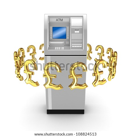 Pound sterling signs around ATM.Isolated on white background.3d rendered.
