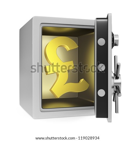 Pound symbol in a personal safe with door opened. Isolated on a white background.
