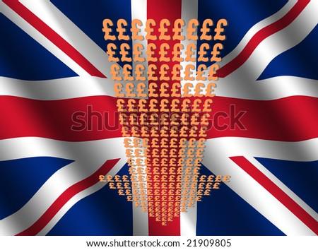 pound symbols down arrow on British flag illustration