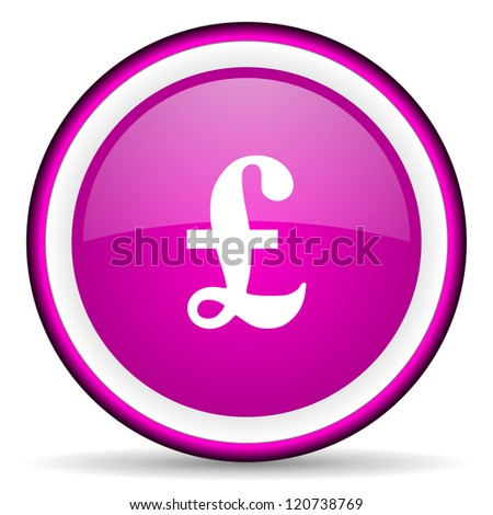 pound violet glossy icon on white background