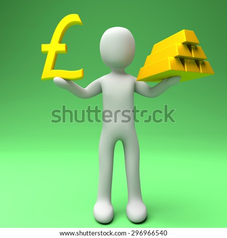 Pounds or Gold. Person holding two of the most traded currencies. Left hand versus right hand. Pounds to spare or Gold to spare. Full High Definition rendered illustration.