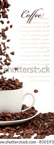 pour coffee grounds into the cup is isolated on a white background