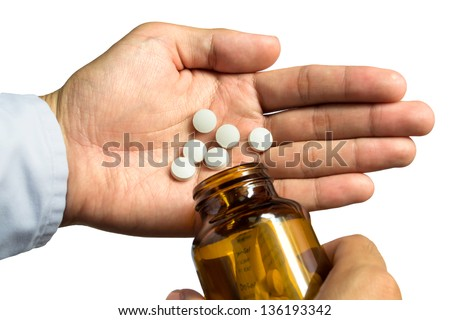 Pour medication at hand
