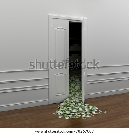 poured money out the door as a symbol of wealth