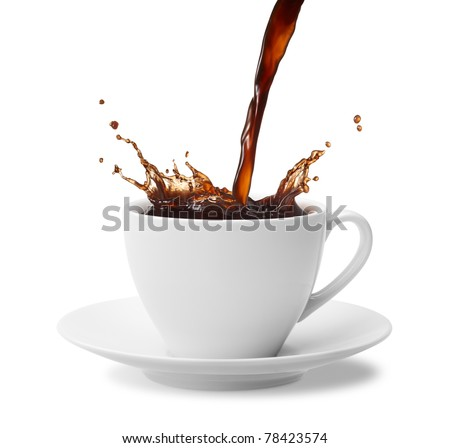 pouring a cup of coffee creating splash