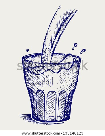 Pouring a glass of milk. Doodle style. Raster version