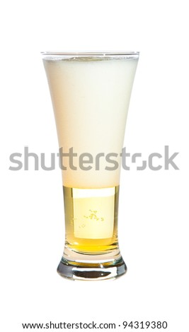 Pouring beer isolated on white