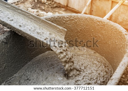 pouring cement during for...