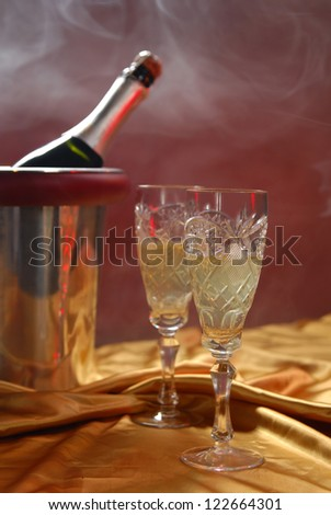 pouring champagne and fireworks on a dark background