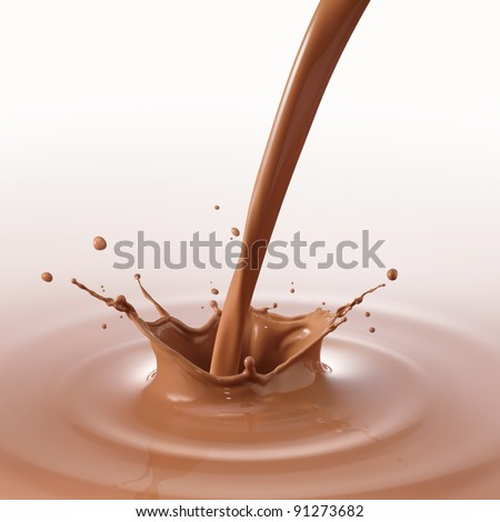 pouring chocolate drink created splash and ripple