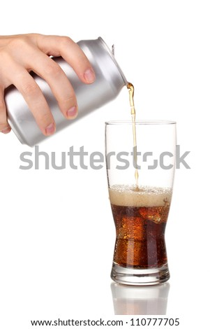 Pouring cola into glass isolated on white