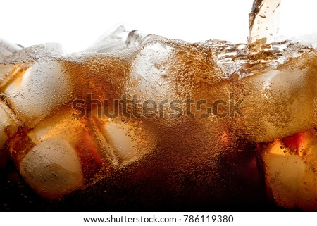 Pouring cola soda with ice and bubble on front view white background cold drink beverage #786119380