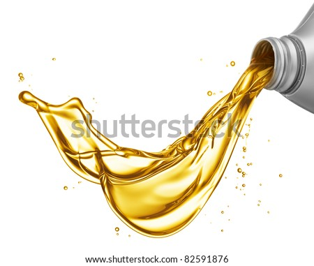 pouring engine oil from its plastic container