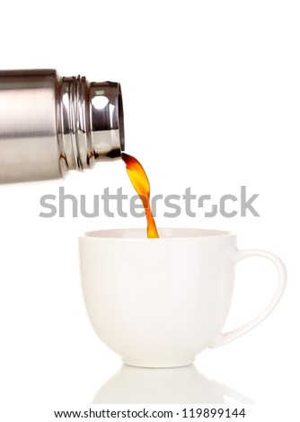 pouring from thermos into cup isolated on white