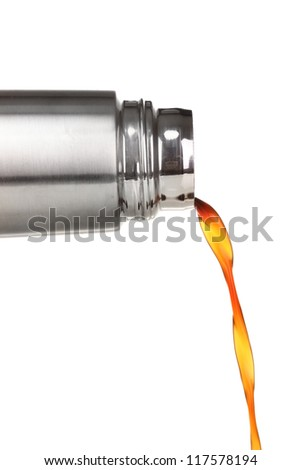 pouring from thermos isolated on white - stock photo