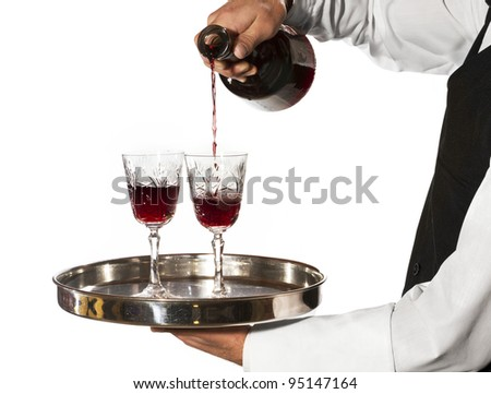 Pouring glasses of wine