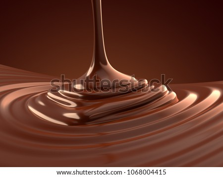 Pouring hot chocolate 3d illustration