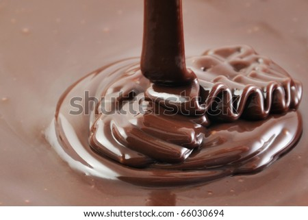 Pouring hot chocolate, sweet cooking background