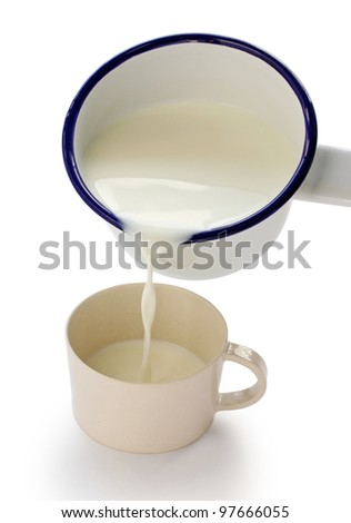 pouring milk into a cup by an enamel milk pot