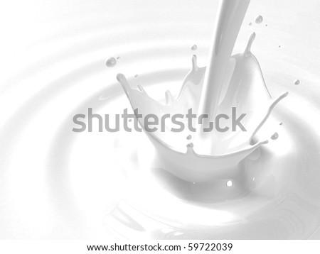 Pouring milk splash with copyspace