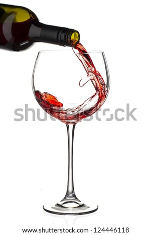 Pouring of a red wine in a plain background