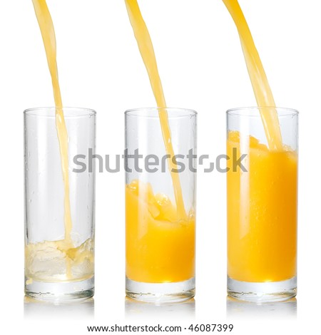 Pouring orange juice into the glass isolated on white