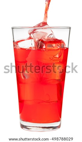 Pouring red fruit punch into pint glass on white #498788029