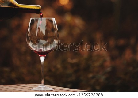 Pouring red wine into the glass. Pour red wine. #1256728288