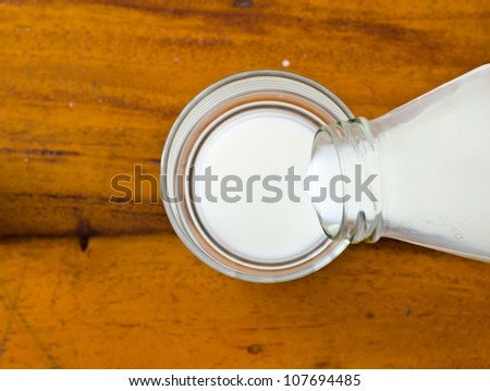 Pouring the milk into a glass.