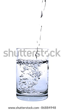 pouring water into a glass