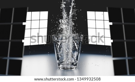 Pouring water into a glass 3D Render #1349932508