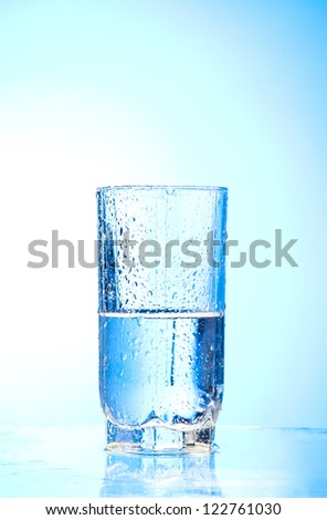 Pouring water into glass  and Glass of water on a blue background