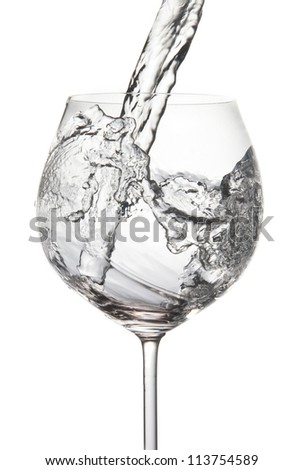 Pouring water into glass (splash of water) isolated