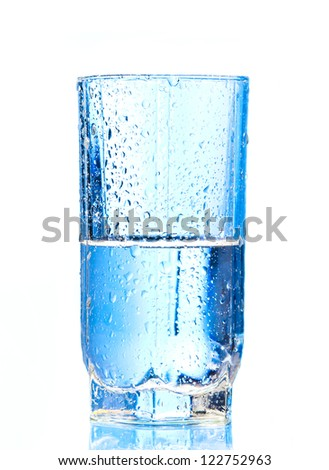 Pouring water into glasson and Glass of water isolated on a white background