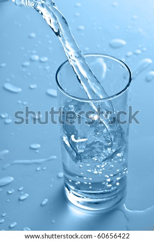 pouring water into the glass