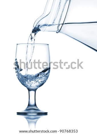 Pouring water into the glass from jug. Isolated over white background