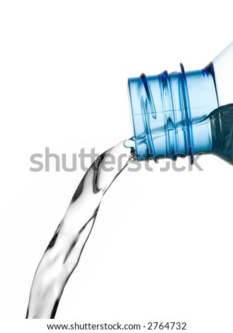 pouring water, isolated on white