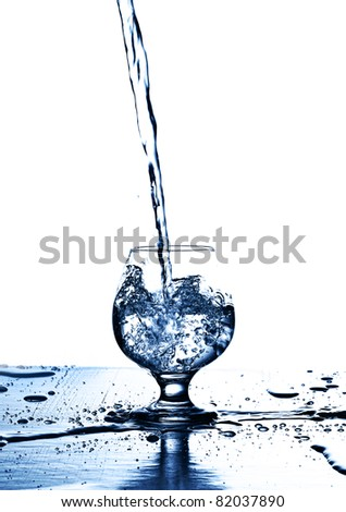 pouring water on a glass on a white background