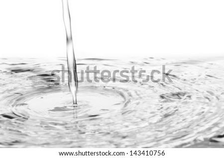 pouring water to mirror isolated on white