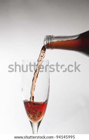 Pouring wine on a glass.