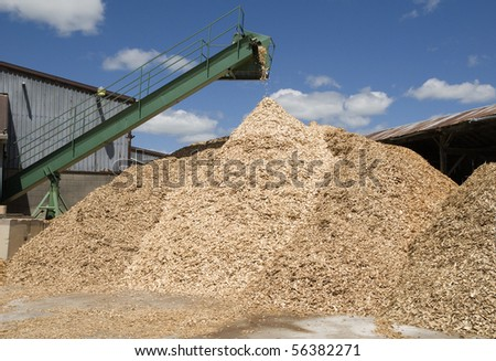 pouring wood-chips