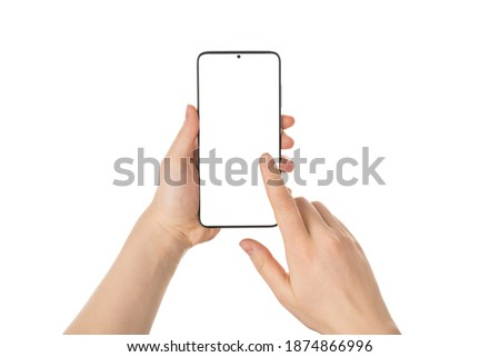 Pov first person close up view photo of female hands using telephone touching screen with copy space isolated white background Foto stock ©
