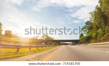 POV point of view - Driving West on Interstate Highway 40 through Appalachian Mountains. #714181705