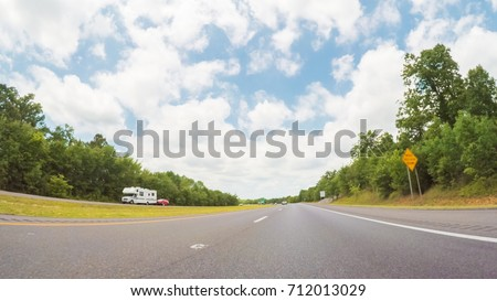 POV point of view - Driving West on Interstate highway through Tennessee. #712013029